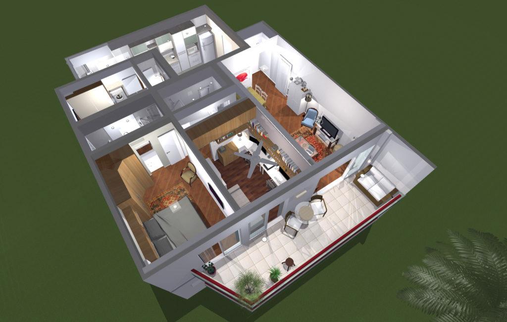 Plan 3d d'un appartement à Rio de Janeiro, de 107 m2. Design Olivier Venel