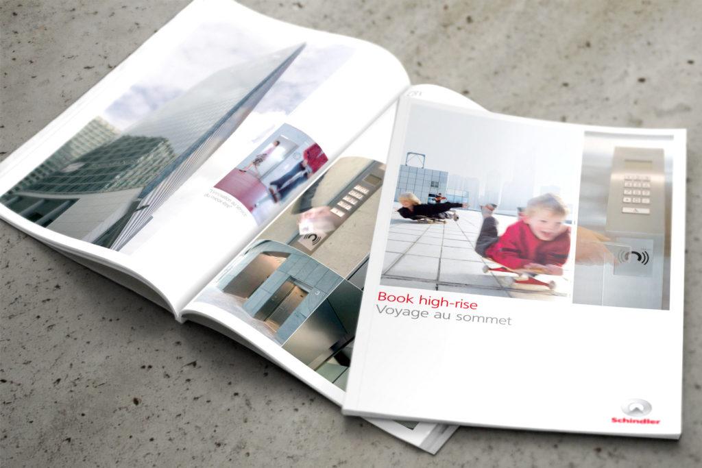 GROUPE SCHINDLER. Brochure de présentation d'ascenseurs de haute technologie. Design Olivier Venel
